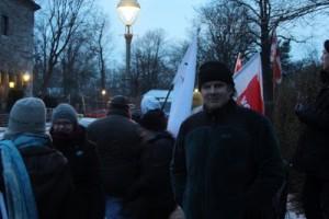 German MP Andrej Hunko (Die LINKE) during a protest against kazakh president Nasarbayev