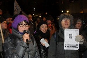 kazakh activists speaking during a protest of CampaignKazakhstan in Berlin, 02/07/2012