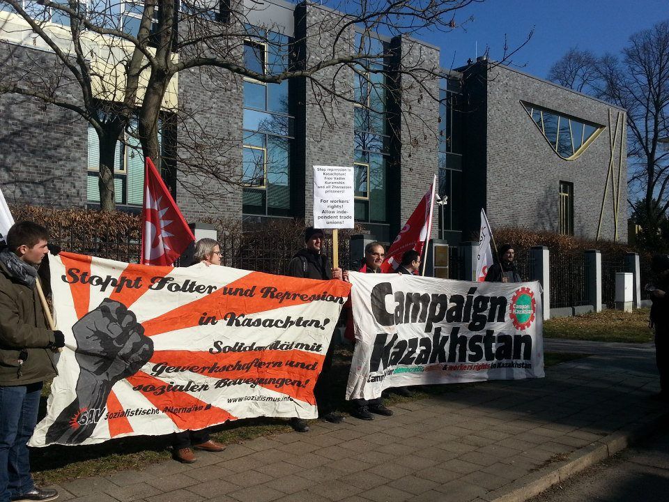 CampaignKazakhstan protest on march 4 2013 in Berlin, blocking the embassy entrance