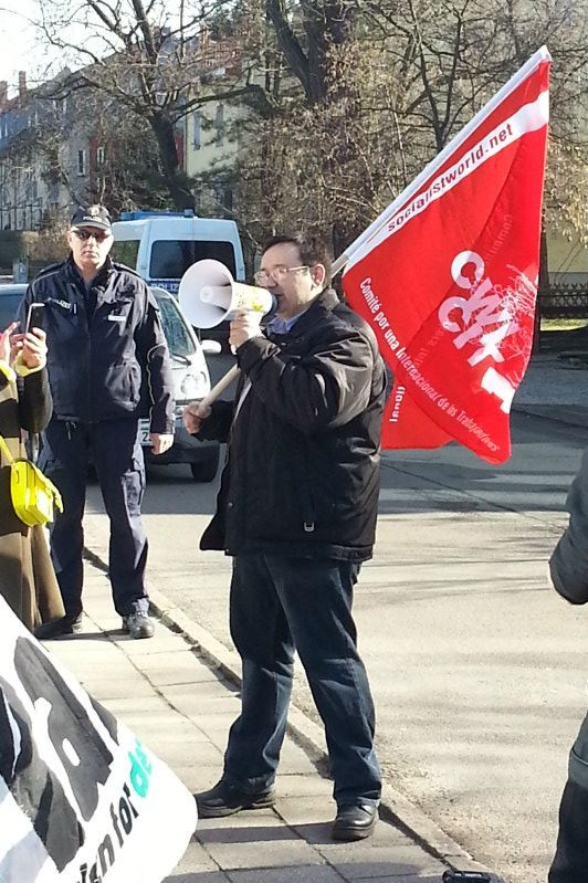 CampaignKazakhstan Berlin protest in front of the kazakh embassy on march 4 2013, Zhanartu president Ainur Kurmanov speaking